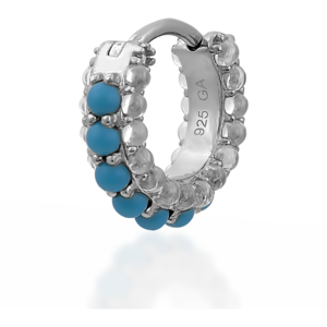 Barrel white cz & turquoise sterling silver huggie